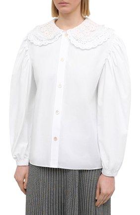 Женская хлопковая блузка MIU MIU белого цвета, арт. MK1479-1AYZ-F0009   Фото 3