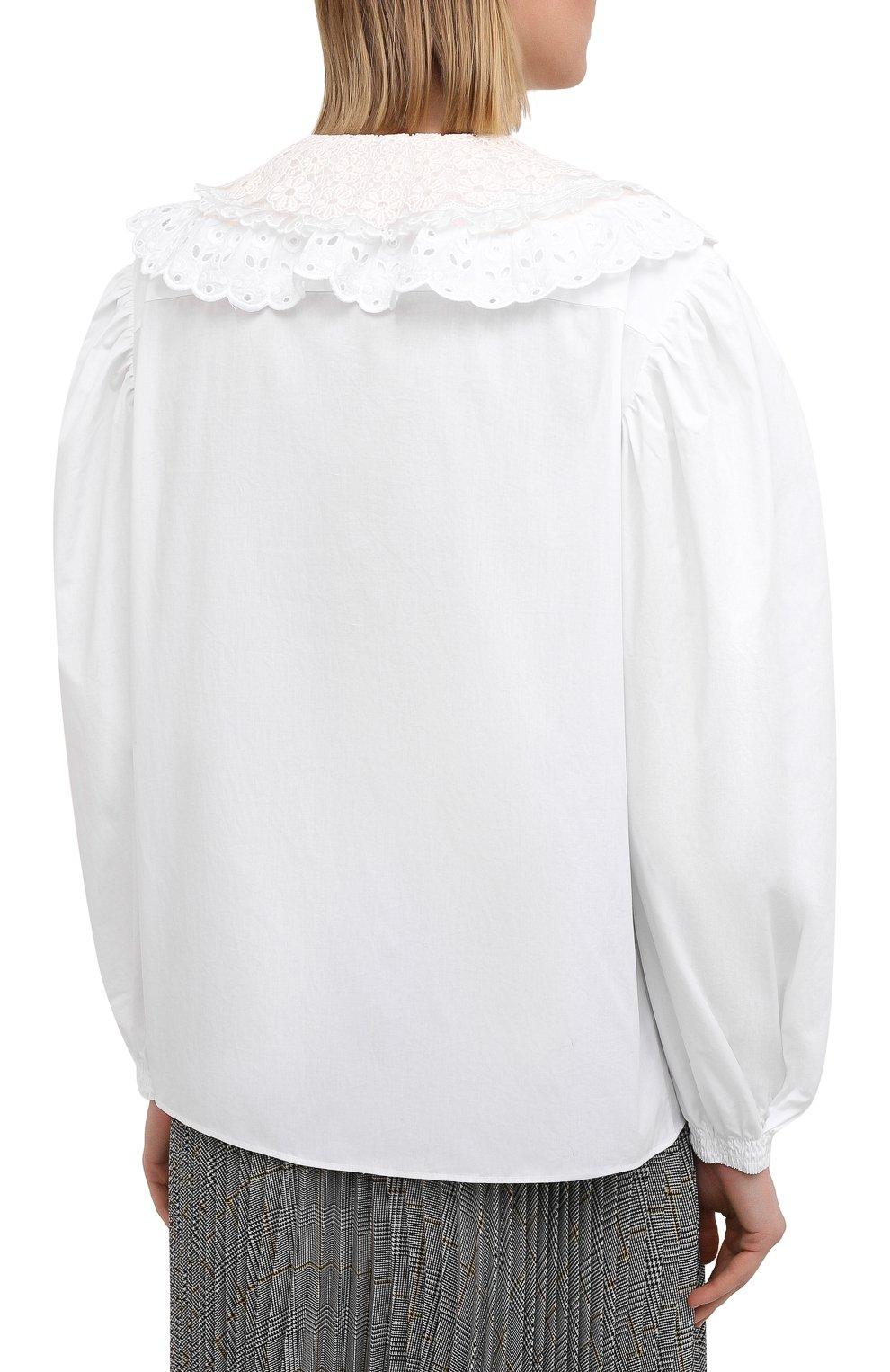 Женская хлопковая блузка MIU MIU белого цвета, арт. MK1479-1AYZ-F0009   Фото 4