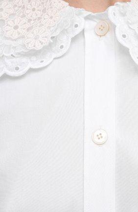 Женская хлопковая блузка MIU MIU белого цвета, арт. MK1479-1AYZ-F0009   Фото 5