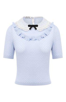 Женский пуловер из кашемира и шелка MIU MIU голубого цвета, арт. MML377-1KV2-F0424   Фото 1