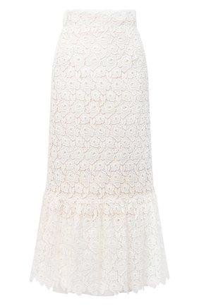 Женская хлопковая юбка MIU MIU белого цвета, арт. MG1442-1DS9-F0009 | Фото 1 (Материал внешний: Хлопок; Длина Ж (юбки, платья, шорты): Миди; Женское Кросс-КТ: Юбка-одежда)