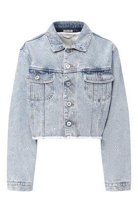 Женская джинсовая куртка MIU MIU голубого цвета, арт. GWB082-1XD3-F0013   Фото 1