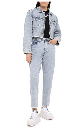 Женская джинсовая куртка MIU MIU голубого цвета, арт. GWB082-1XD3-F0013   Фото 2