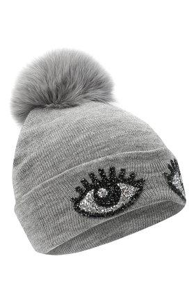 Детского шерстяная шапка CATYA серого цвета, арт. 024516   Фото 1