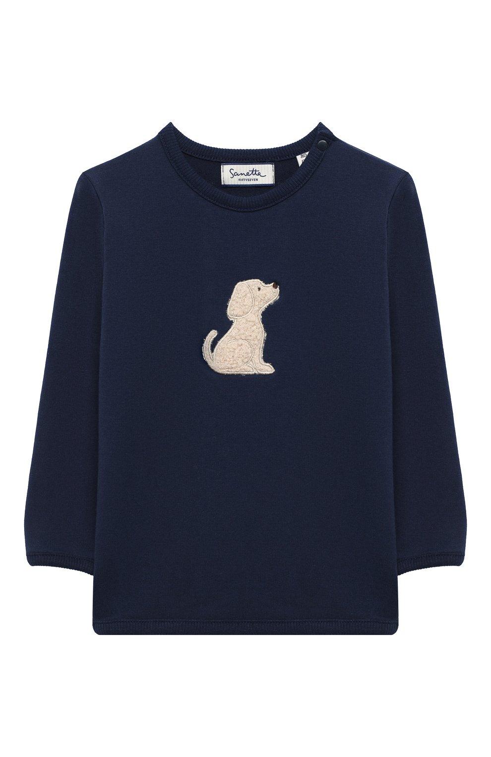 Детский хлоповый свитшот SANETTA FIFTYSEVEN темно-синего цвета, арт. 901877 | Фото 1