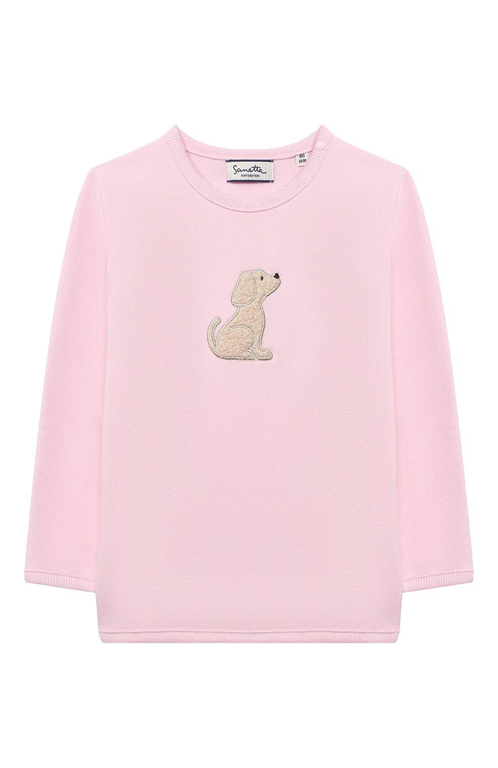 Детский хлоповый свитшот SANETTA FIFTYSEVEN светло-розового цвета, арт. 901877 | Фото 1