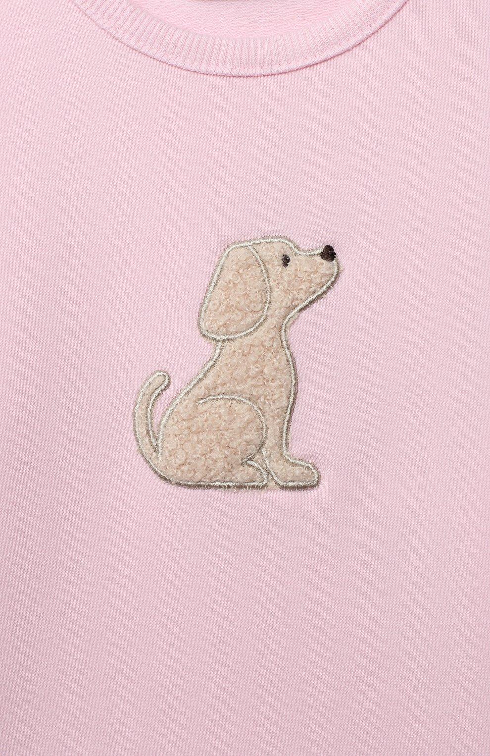 Детский хлоповый свитшот SANETTA FIFTYSEVEN светло-розового цвета, арт. 901877 | Фото 3
