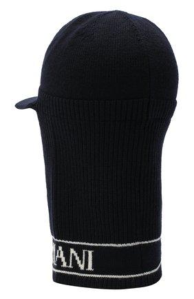 Детского шерстяная шапка-балаклава EMPORIO ARMANI темно-синего цвета, арт. 404616/0A466   Фото 2