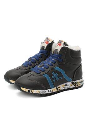 Детские высокие кроссовки PREMIATA WILL BE серого цвета, арт. ADAM-M/M0081312/CHILD | Фото 1 (Материал утеплителя: Натуральный мех; Стили: Гранж)
