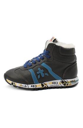 Детские высокие кроссовки PREMIATA WILL BE серого цвета, арт. ADAM-M/M0081312/CHILD | Фото 2 (Материал утеплителя: Натуральный мех; Стили: Гранж)