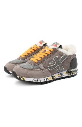 Детские замшевые кроссовки PREMIATA WILL BE коричневого цвета, арт. MICK-M/11-41451-M/CHILD | Фото 1 (Материал внутренний: Натуральная кожа)