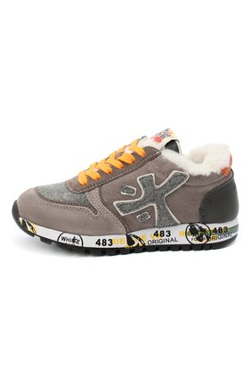 Детские замшевые кроссовки PREMIATA WILL BE коричневого цвета, арт. MICK-M/11-41451-M/CHILD | Фото 2 (Материал внутренний: Натуральная кожа)
