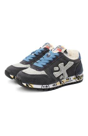 Детские замшевые кроссовки PREMIATA WILL BE серого цвета, арт. MICK-M/11-41452-M/CHILD | Фото 1 (Материал внутренний: Натуральная кожа)