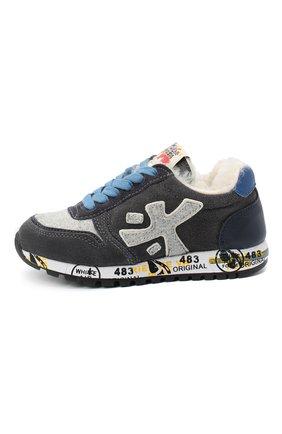 Детские замшевые кроссовки PREMIATA WILL BE серого цвета, арт. MICK-M/11-41452-M/CHILD | Фото 2 (Материал внутренний: Натуральная кожа)