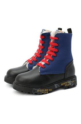 Детские кожаные ботинки PREMIATA WILL BE черного цвета, арт. HI-URBAN-M/11-191461-M/CHILD | Фото 1 (Материал утеплителя: Натуральный мех; Материал внешний: Кожа)