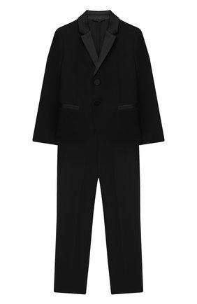 Детский шерстяной костюм EMPORIO ARMANI черного цвета, арт. 6H4VJ8/4N3FZ | Фото 1 (Материал подклада: Синтетический материал; Материал внешний: Шерсть; Рукава: Длинные; Кросс-КТ: костюм; Ростовка одежда: 10 - 11 лет | 140 - 146см, 13 - 15 лет | 158 см, 16 лет | 164 см, 4 года | 104 см, 5 лет | 110 см, 6 лет | 116 см, 7 лет | 122 см, 8 лет | 128 см, 9 лет | 134 см)