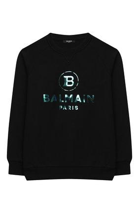 Детский хлопковый свитшот BALMAIN черного цвета, арт. 6N4660/NX300/4-10 | Фото 1