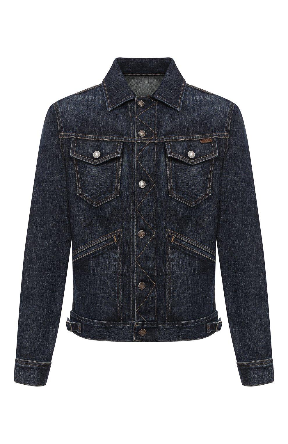 Мужская джинсовая куртка TOM FORD темно-синего цвета, арт. BVJ31/TFD111 | Фото 1 (Кросс-КТ: Куртка; Рукава: Длинные; Материал внешний: Хлопок; Мужское Кросс-КТ: Куртка-верхняя одежда, Верхняя одежда; Длина (верхняя одежда): Короткие; Стили: Кэжуэл)