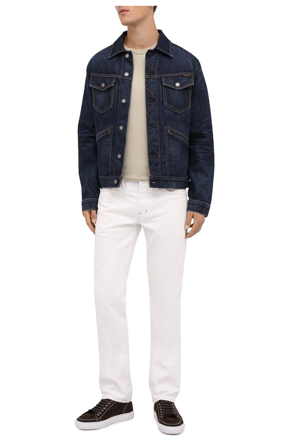 Мужская джинсовая куртка TOM FORD темно-синего цвета, арт. BVJ31/TFD111 | Фото 2 (Кросс-КТ: Куртка; Рукава: Длинные; Материал внешний: Хлопок; Мужское Кросс-КТ: Куртка-верхняя одежда, Верхняя одежда; Длина (верхняя одежда): Короткие; Стили: Кэжуэл)