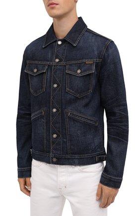 Мужская джинсовая куртка TOM FORD темно-синего цвета, арт. BVJ31/TFD111 | Фото 4 (Кросс-КТ: Куртка; Рукава: Длинные; Материал внешний: Хлопок; Мужское Кросс-КТ: Куртка-верхняя одежда, Верхняя одежда; Длина (верхняя одежда): Короткие; Стили: Кэжуэл)
