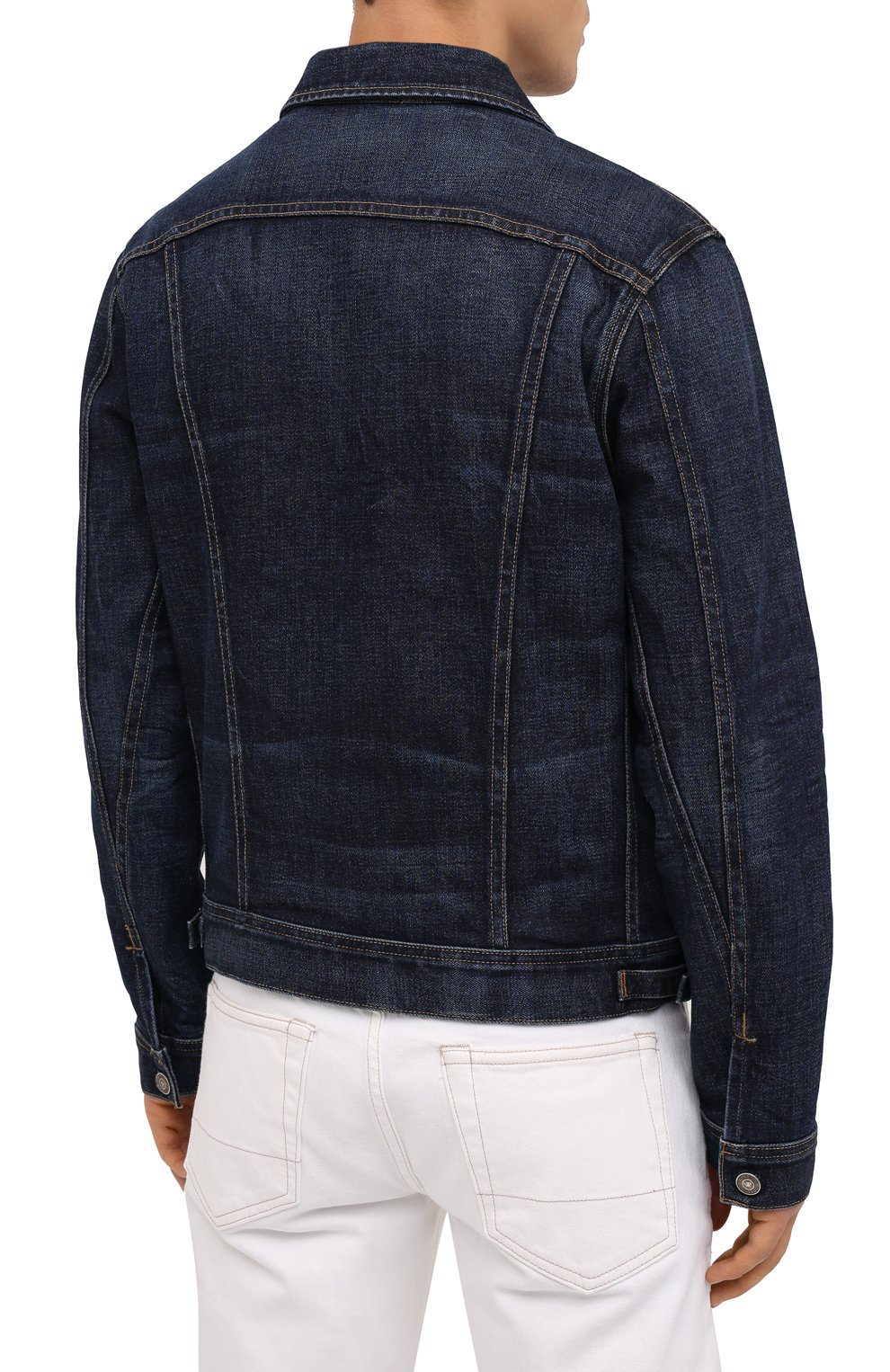 Мужская джинсовая куртка TOM FORD темно-синего цвета, арт. BVJ31/TFD111 | Фото 5 (Кросс-КТ: Куртка; Рукава: Длинные; Материал внешний: Хлопок; Мужское Кросс-КТ: Куртка-верхняя одежда, Верхняя одежда; Длина (верхняя одежда): Короткие; Стили: Кэжуэл)