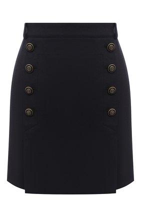 Женская шерстяная юбка SAINT LAURENT темно-синего цвета, арт. 625253/Y221W | Фото 1