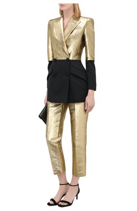 Женские брюки из хлопка и шелка ALEXANDER MCQUEEN золотого цвета, арт. 631818/QEACC | Фото 2