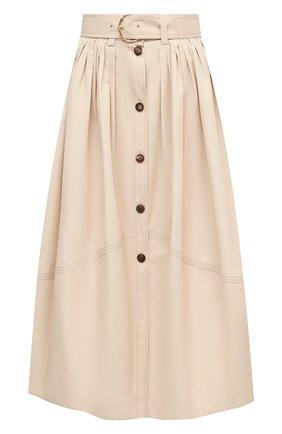 Женская хлопковая юбка CHLOÉ бежевого цвета, арт. CHC20AJU16041   Фото 1