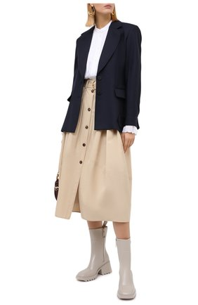 Женская хлопковая юбка CHLOÉ бежевого цвета, арт. CHC20AJU16041   Фото 2