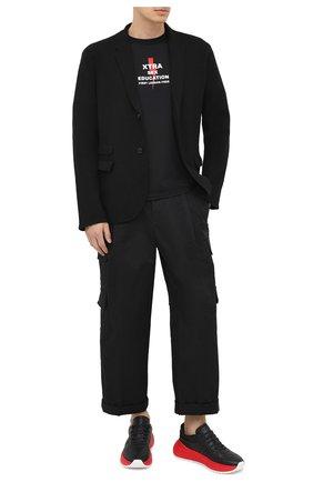 Мужская хлопковая футболка NEIL BARRETT черного цвета, арт. PBJT846S/P580S | Фото 2