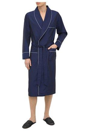 Мужской хлопковый халат ROBERTO RICETTI темно-синего цвета, арт. VESTAGLIA R0BE/EX-B2310 | Фото 2