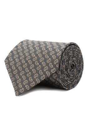Мужской шелковый галстук BRIONI серого цвета, арт. 062H00/09451 | Фото 1 (Материал: Текстиль; Принт: С принтом)