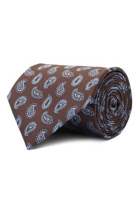 Мужской шелковый галстук BRIONI коричневого цвета, арт. 062H00/09428 | Фото 1