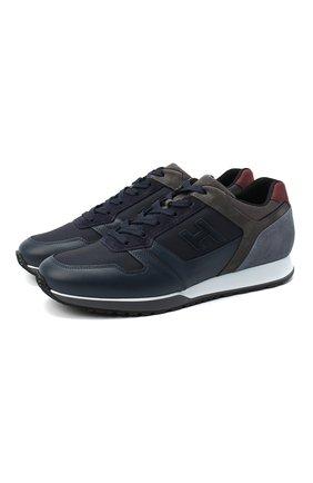 Мужские комбинированные кроссовки HOGAN темно-синего цвета, арт. HXM3210Y8600HQ | Фото 1