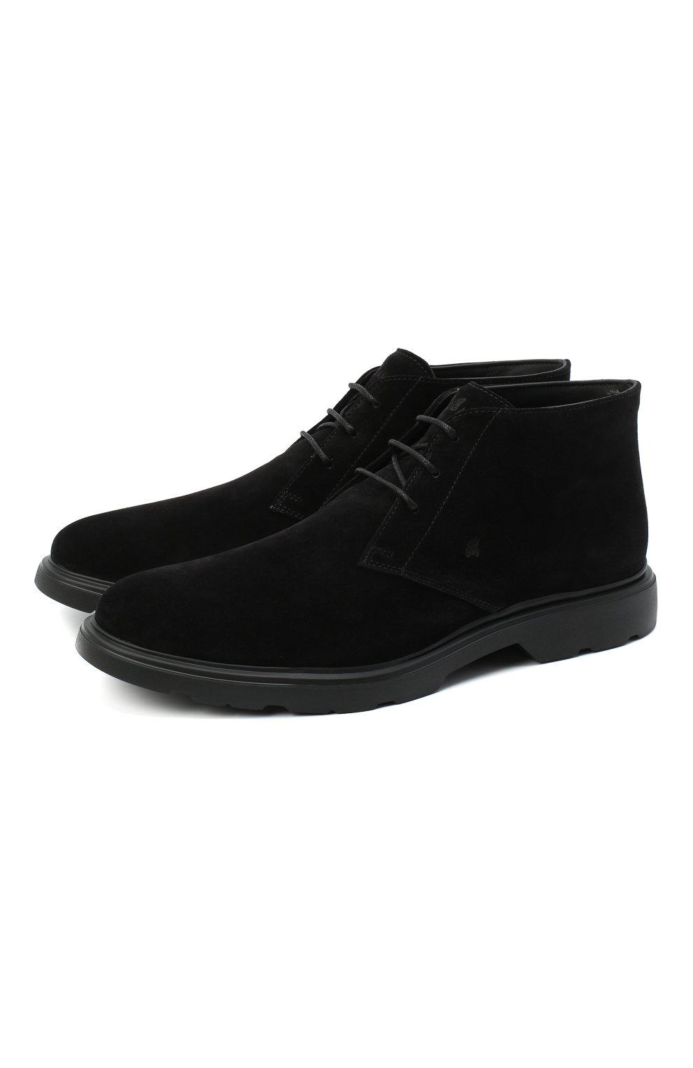Мужские замшевые ботинки HOGAN черного цвета, арт. HXM3930W352HG0   Фото 1