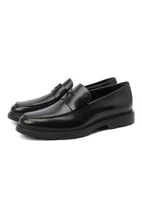 Мужские кожаные пенни-лоферы HOGAN черного цвета, арт. HXM3930X2306Q6 | Фото 1