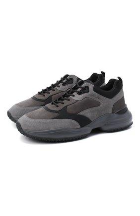 Мужские комбинированные кроссовки HOGAN серого цвета, арт. HXM5450DH1000J | Фото 1