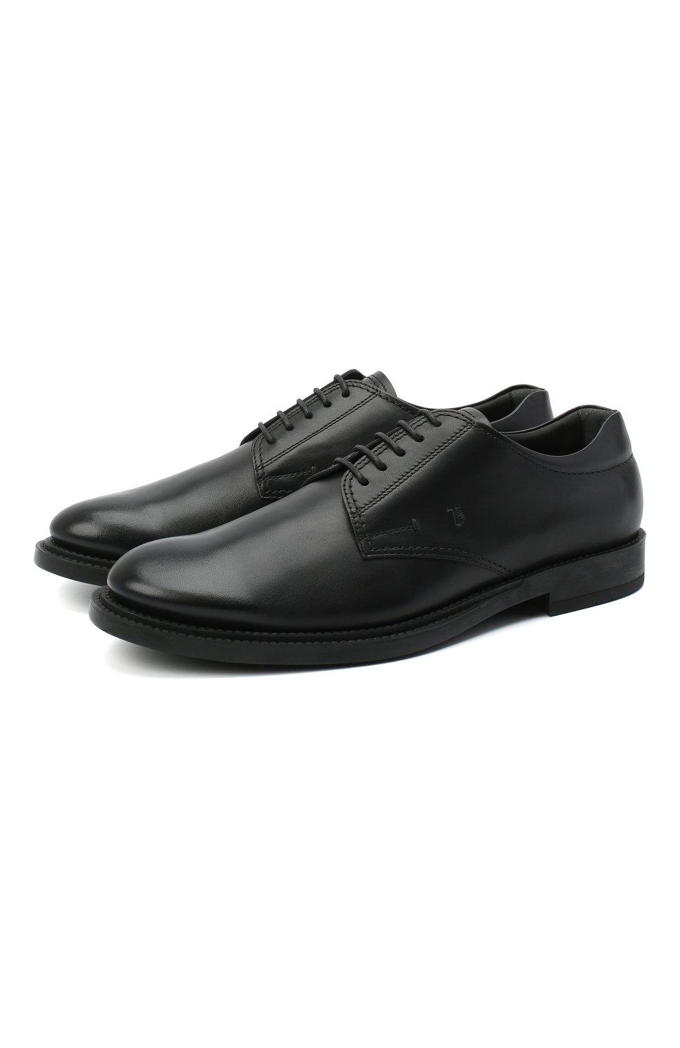 Мужские кожаные дерби TOD'S черного цвета, арт. XXM62C00C200LW | Фото 1 (Материал внутренний: Натуральная кожа; Стили: Классический)