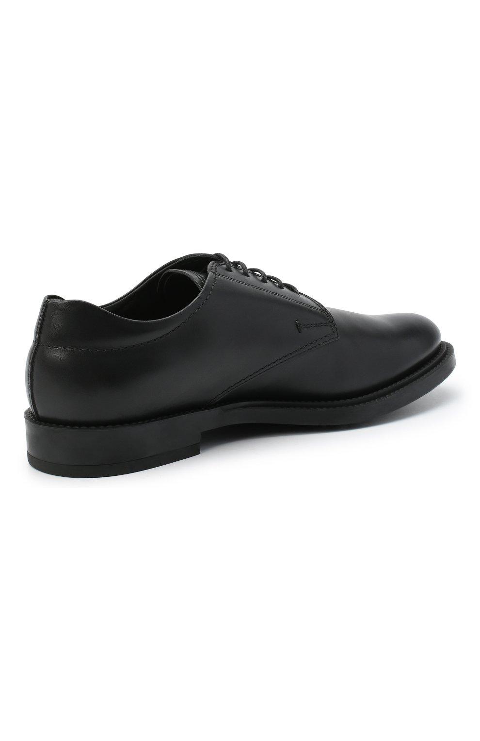 Мужские кожаные дерби TOD'S черного цвета, арт. XXM62C00C200LW | Фото 4 (Материал внутренний: Натуральная кожа; Стили: Классический)