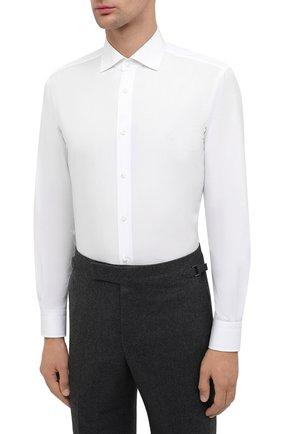Мужская хлопковая сорочка RALPH LAUREN белого цвета, арт. 791530486 | Фото 3
