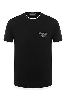 Мужская хлопковая футболка EMPORIO ARMANI черного цвета, арт. 6H1TH4/1JTUZ   Фото 1