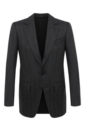 Мужской шерстяной пиджак TOM FORD темно-серого цвета, арт. 856R01/1IMU40 | Фото 1 (Материал подклада: Купро, Шелк; Рукава: Длинные; Материал внешний: Шерсть; Длина (для топов): Стандартные; Случай: Формальный; Пиджаки М: Приталенный; 1-2-бортные: Однобортные; Стили: Классический)
