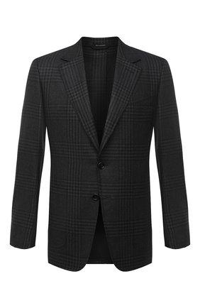 Мужской шерстяной пиджак TOM FORD темно-серого цвета, арт. 822R47/10SP40 | Фото 1 (Рукава: Длинные; Длина (для топов): Стандартные; Материал подклада: Купро, Шелк; Материал внешний: Шерсть; Случай: Формальный; Пиджаки М: Приталенный; 1-2-бортные: Однобортные; Стили: Классический)
