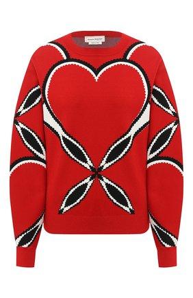Женский пуловер из вискозы ALEXANDER MCQUEEN красного цвета, арт. 641912/Q1ARZ | Фото 1