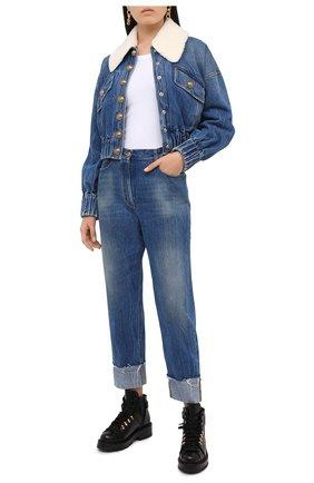 Женская джинсовая куртка BALMAIN синего цвета, арт. UF18641/D059 | Фото 2