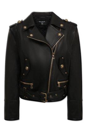 Женская кожаная куртка BALMAIN черного цвета, арт. UF18250/L025 | Фото 1