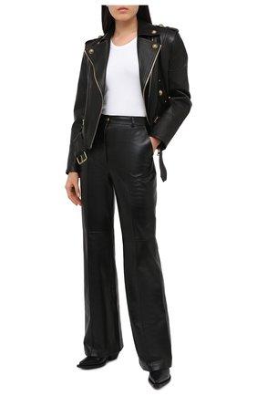 Женская кожаная куртка BALMAIN черного цвета, арт. UF18250/L025 | Фото 2