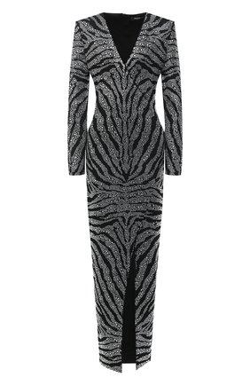 Женское платье из вискозы BALMAIN черного цвета, арт. UF16899/J073 | Фото 1