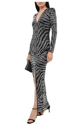 Женское платье из вискозы BALMAIN черного цвета, арт. UF16899/J073 | Фото 2