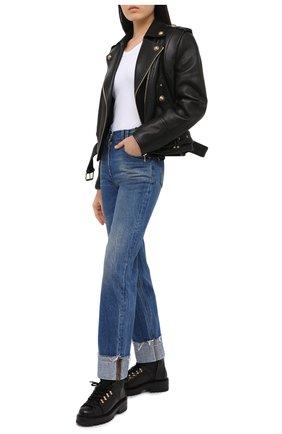 Женские джинсы BALMAIN синего цвета, арт. UF15570/D059   Фото 2 (Длина (брюки, джинсы): Стандартные; Материал внешний: Хлопок; Детали: Потертости; Силуэт Ж (брюки и джинсы): Прямые; Кросс-КТ: Деним; Стили: Кэжуэл)